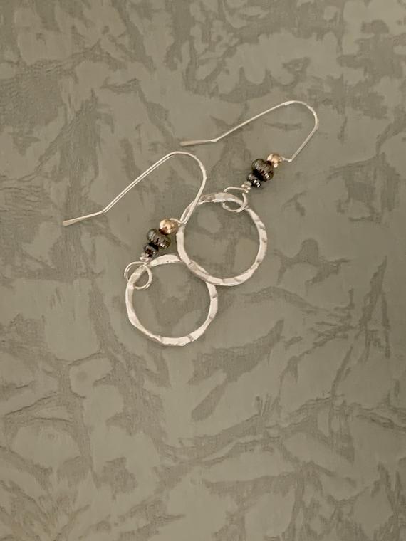 Silver Circle earrings - round hoop, gold bead black bead dangle - hammered earrings - dmalia