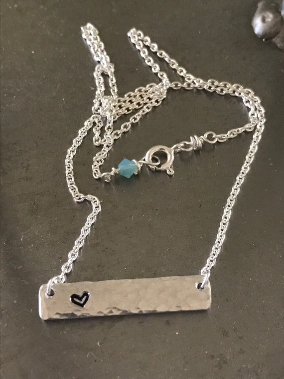Bar necklace, silver heart stamped bar, hammered bar, aluminum bar on sterling fill chain, stamped heart