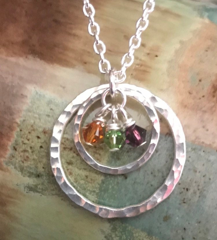 8beb80a76124f Silver Circles, Birthstone Jewelry - Mothers Necklace -Hammered fine ...