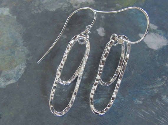 Fine Silver double ovals hammered texture small and medium oblong dmalia designs