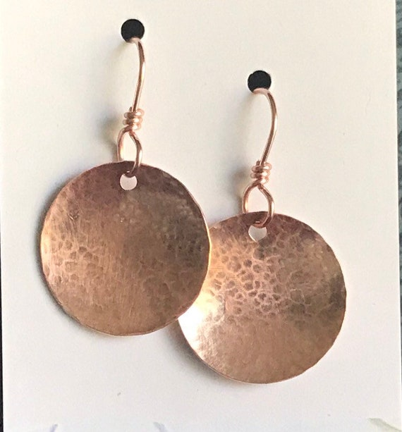 Rose Gold disc earring  round stamp hammered circle earring boho chic dangle earring