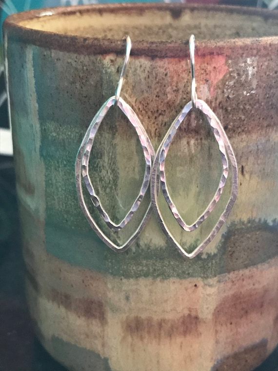 Marquis hammered fine silver earrings large