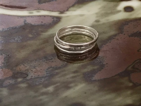 4 Fine Silver stackable rings Band Ring, stackable, fused, hammered,  Zen, organic,  four 18 gauge wire, thin ring