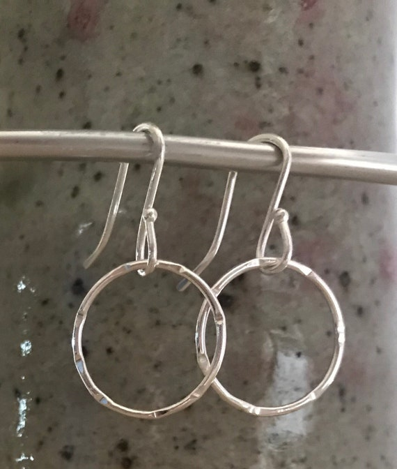 Fine Silver circle earrings Small Petite Simple Stamped