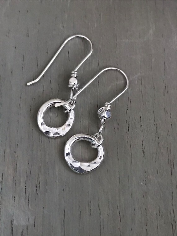 Simple mini circle silver earrings, Fine silver, fused, hammered, small round dangle  Sterling ear wires