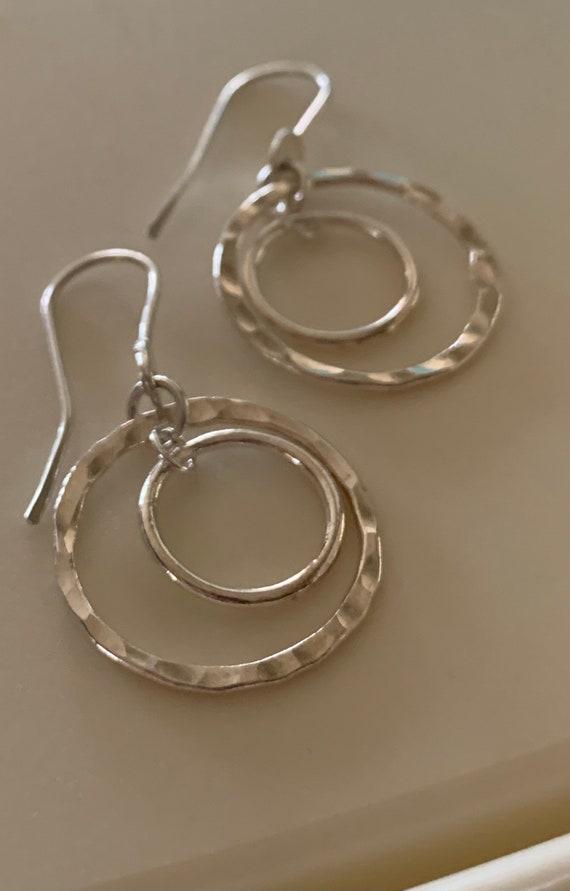 Fine Silver circle earrings, hoops, fused, hammered, Fine silver, .999,  Two Circles, dangle earring, simple silver earring