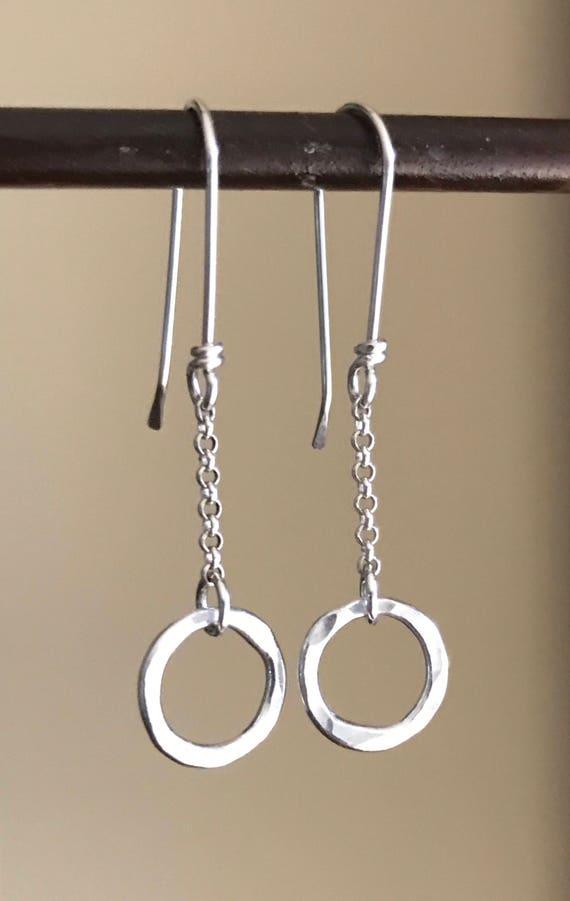 Simple Silver earrings, mini, hoop, fine silver, fused, small, everyday pierced ear wear