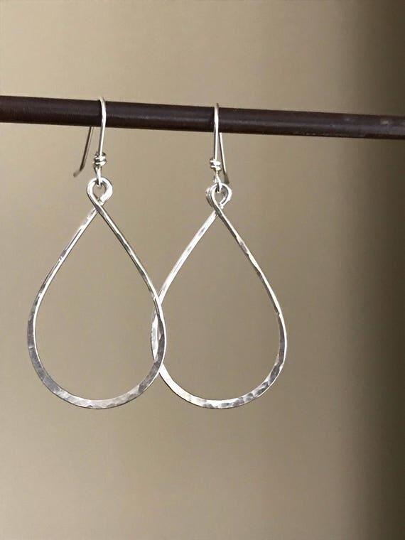 Large Sterling Silver Hoops - hammeted texture teardrop earring, minimalist jewelry, Simple everyday wear  dmalia designs