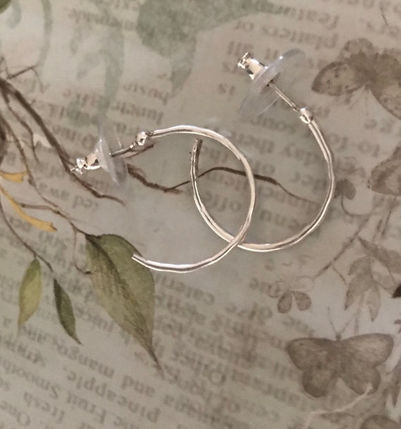 Medium Sterling Silver Hoops -  hammered finish  post style easy to wear silver dangle earrings  circle hoop