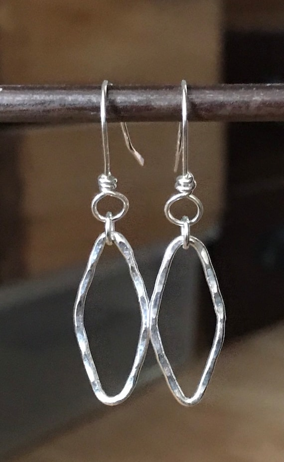 Silver Earrings, elingated Silver diamond shape drops, fine silver, simple earrings