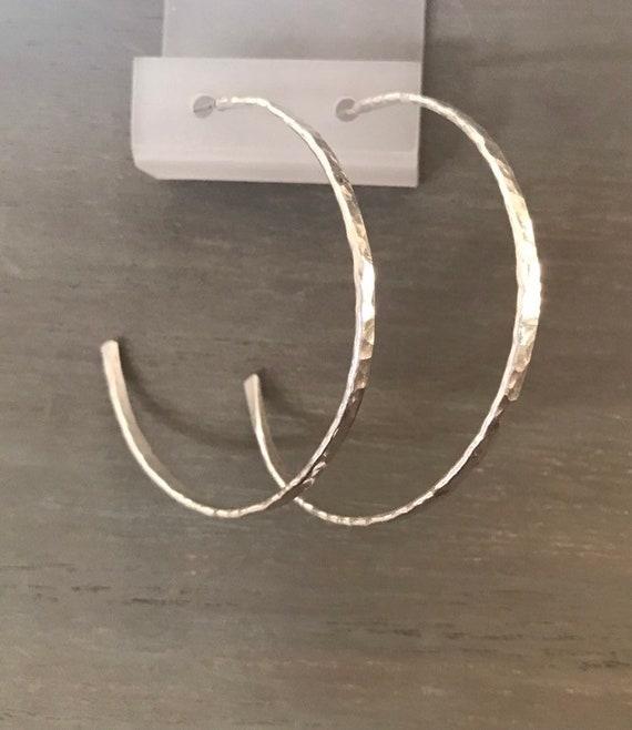 Big hoops  Sterling Silver chunky boho large hammered Hoops- round 2 inch circle earring, minimalist jewelry dmalia