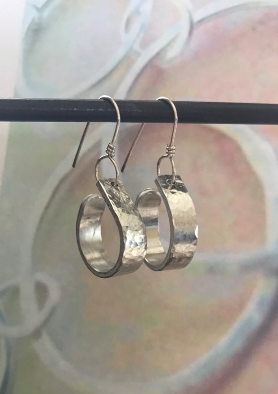Aluminum bar hoop earrings.  Aluminum textured hoop attached to handmade sterling ear wires