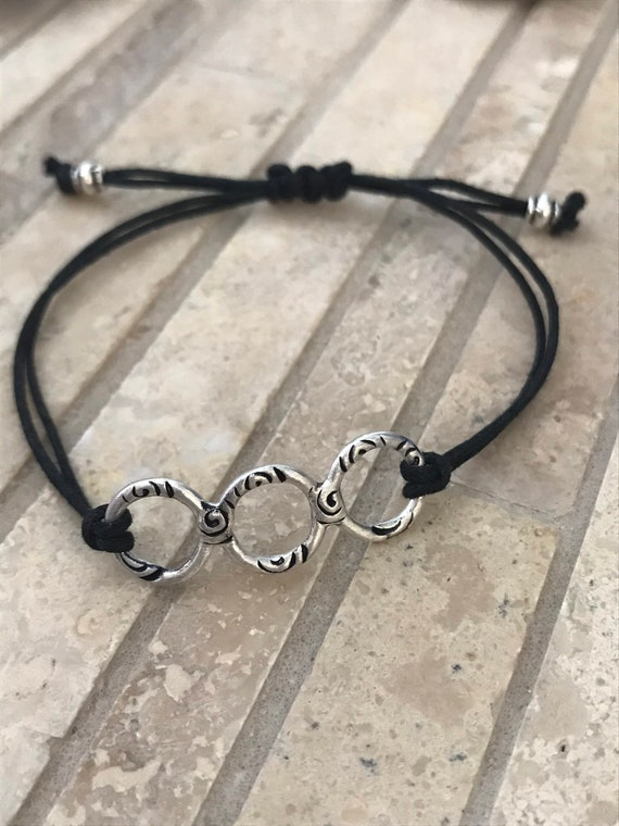 Silver Circle bracelet, Fine Silver, adjustable, hammered circles, three, black cord, stackable, slide knot