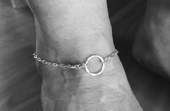 Silver ankle bracelet, hammered fine silver circle, simple, round,  anklet, ankle bracelet, sterling silver fill  magnetic clasp