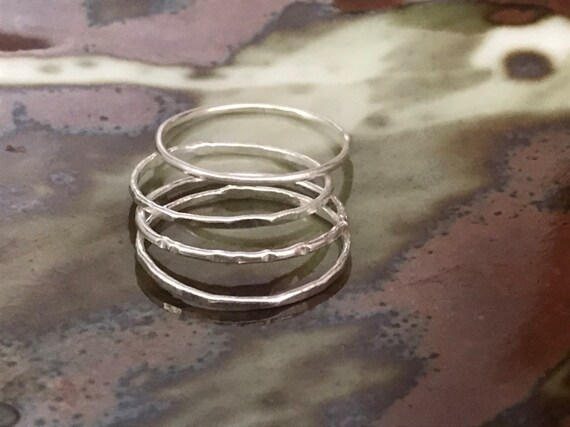 Four (4) Thin Silver stackable rings - set of four stacking rings, Fine Silver stackable rings - thin rings, dainty ring - dmalia