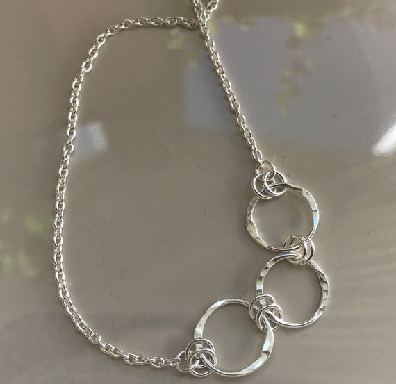 Mother necklace- three ring hammered circle necklace - fine silver rings - mother and daughters necklace - three friends necklace -  dmalia