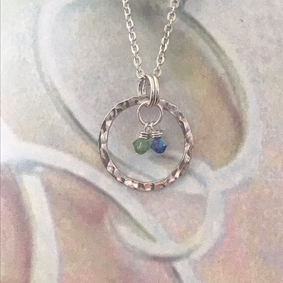 Birthstone mothers necklace Silver Circles, Birthstone Jewelry - Mothers Necklace -Hammered fine silver circles - mother's day gift