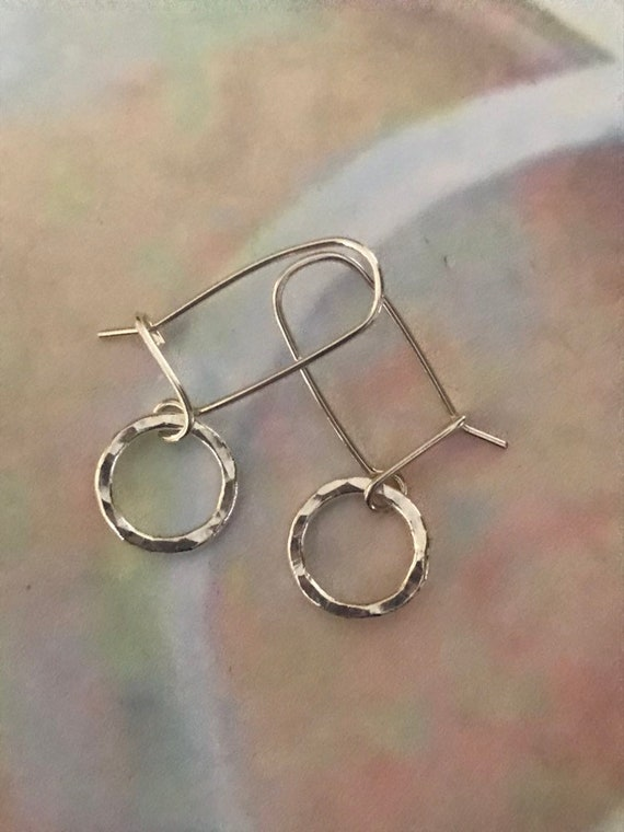 Simple mini circle silver earrings, Fine silver, fused, small, hammered, small round dangle  Sterling ear wires