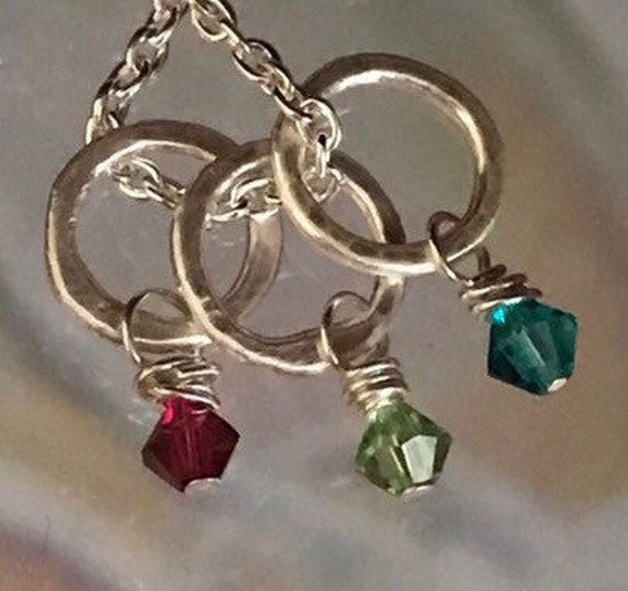 Rings with Birthstone   Fine Silver small circles - Swarovski crystal birthstones  birthstone jewelry  add to any necklace