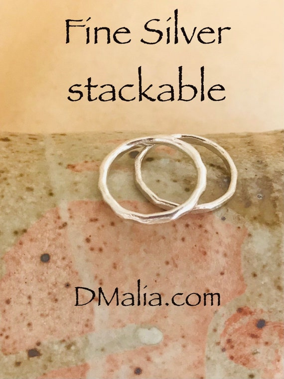 Stackable rings, two ring set, Fine Silver circle ring, two rings, ring set, stacking ring, gift for her, dmalia