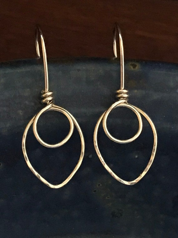 Sterling Silver Earrings, minimalist jewelry, Simple round circles dmalia designs