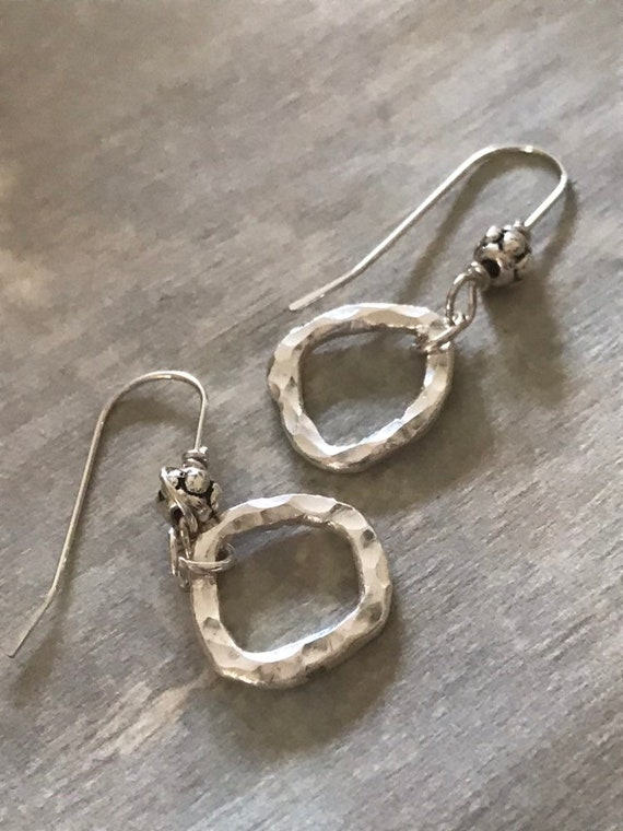 Silver circle hoops,  small circle earrings, fine silver, Simple earrings, 12 gauge, organic round,hammered, circle,  fused, everyday pierce
