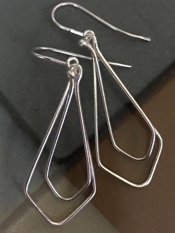 Silver dangle earrings, fine silver handmade, two, teardrops, summer earrings, simple, shiny #720fs