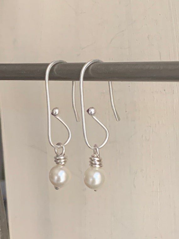 Fine silver swarovski pearl earrings, sterling, simple, retro, dangle, interchangable design