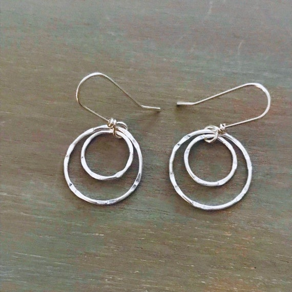 Fine Silver circle earrings, double hoops, circles, fused, two hammered, Fine silver, .999,  sterling silver fish hook, dangle earring, dm