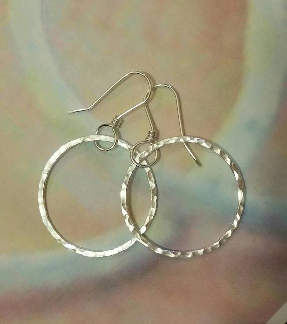 Fine Silver, Circle, Hoop, Eternity earrings, round, hammered, Fine Silver .999 silver, fused circles -by dmaliadesigns