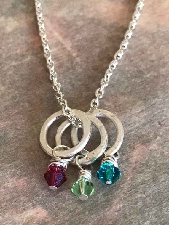 Birthstone necklace Silver Circles, Birthstone Jewelry - Mothers Necklace -Hammered fine silver small circles - Swarovski crystal