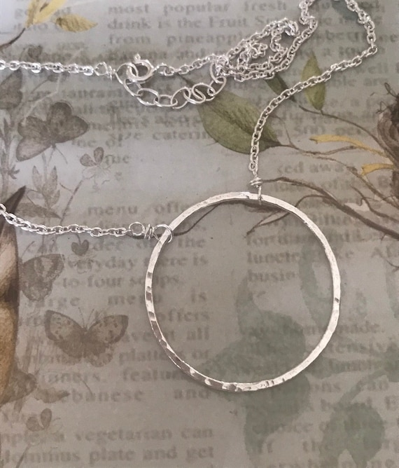 Circle Necklace, large, Unity, Fine Silver, .999, Eternity Circle, round  circle hammered ring love circle