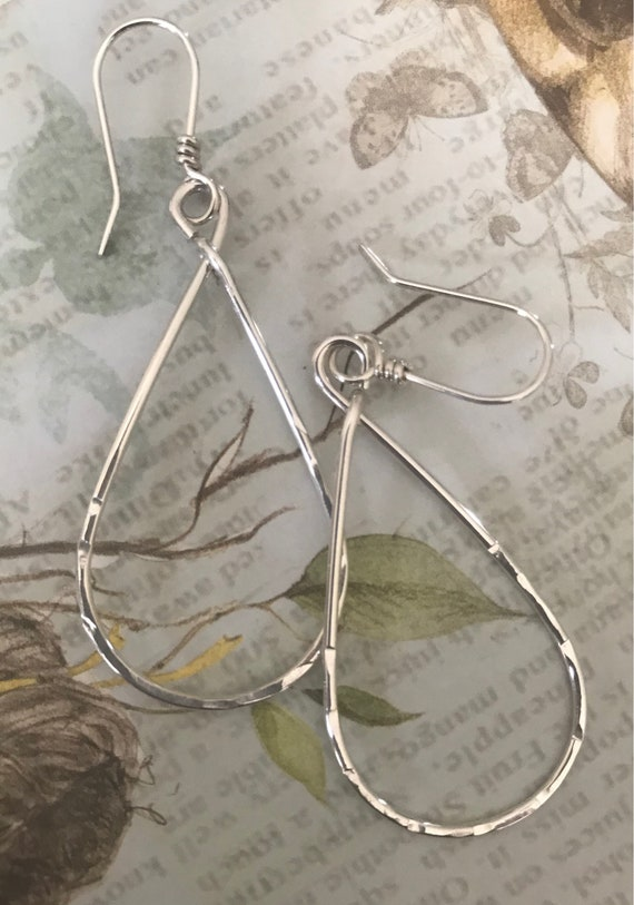 Sterling Silver Hoops- teardrop earring, boho hoop, silver earrings, Gaga, drop dangle,   dmalia designs