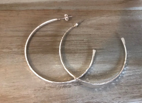 Small 1 inch hoops  or Medium 1.5 inch hoops Sterling Silver hammered small silver Hoops- or Medium silver hoops circle earring, dmalia