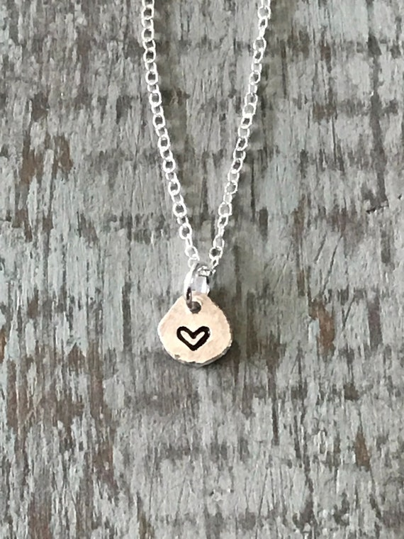 Tiny Heart necklace, silver heart, love,  sweetheart gift  small disc stamped with heart,  recycled fine silver