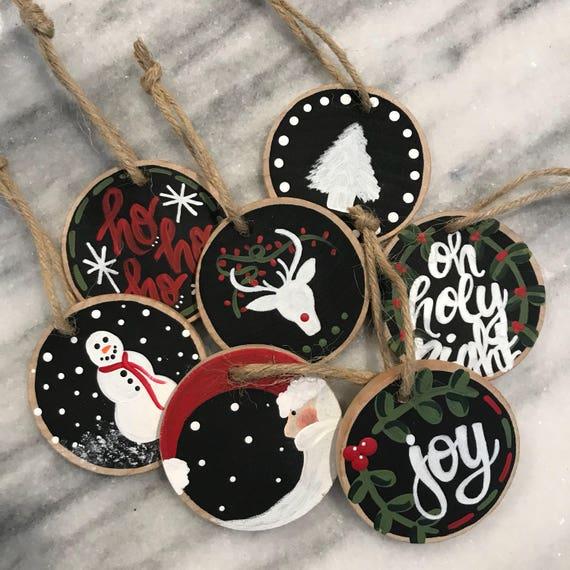 Mini Wood Slice Christmas Ornaments Etsy