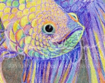 DIGITAL DOWNLOAD - Crayon Purple Betta