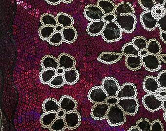 Magenta White Black Flower Sequin Mesh Fabric