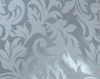 Light Blue Satin Damask Fabric