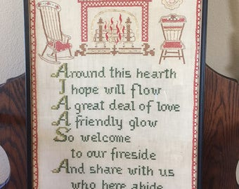 Framed Cross Stitch Hearth Poem Quote