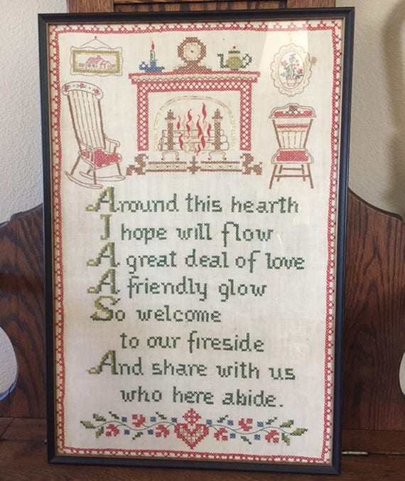 Framed Cross Stitch Hearth Poem Quote | Etsy