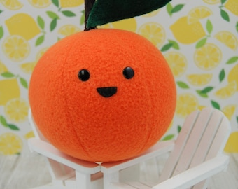 Tangerine Orange Cute Fake Food Plush Stuffed Toy Fruit Produce Polar Fleece Made in Canada