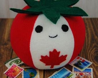 Cute Plush True North Canadian Tomato Fleece Fake Food Picushion Made in Canada