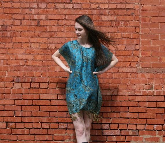 Natural Tunic SILK /& CASHMERE Gypsy Caftan Mini Dress Ethnic Indian Fringe Gypsy Boho OSFA