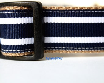 Navy and White Stripe Dog Collar
