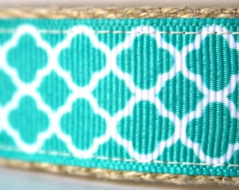 Stripe Teal and White Dog Collar