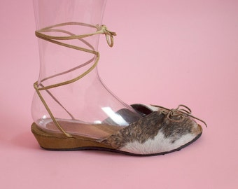 THE COWGIRL - 1940's Inspired Natural Cow Hair-On Cowhide Leather Adjustable Ankle Strap Wedge Sandal & Lace Up Front - Size 5 to 12