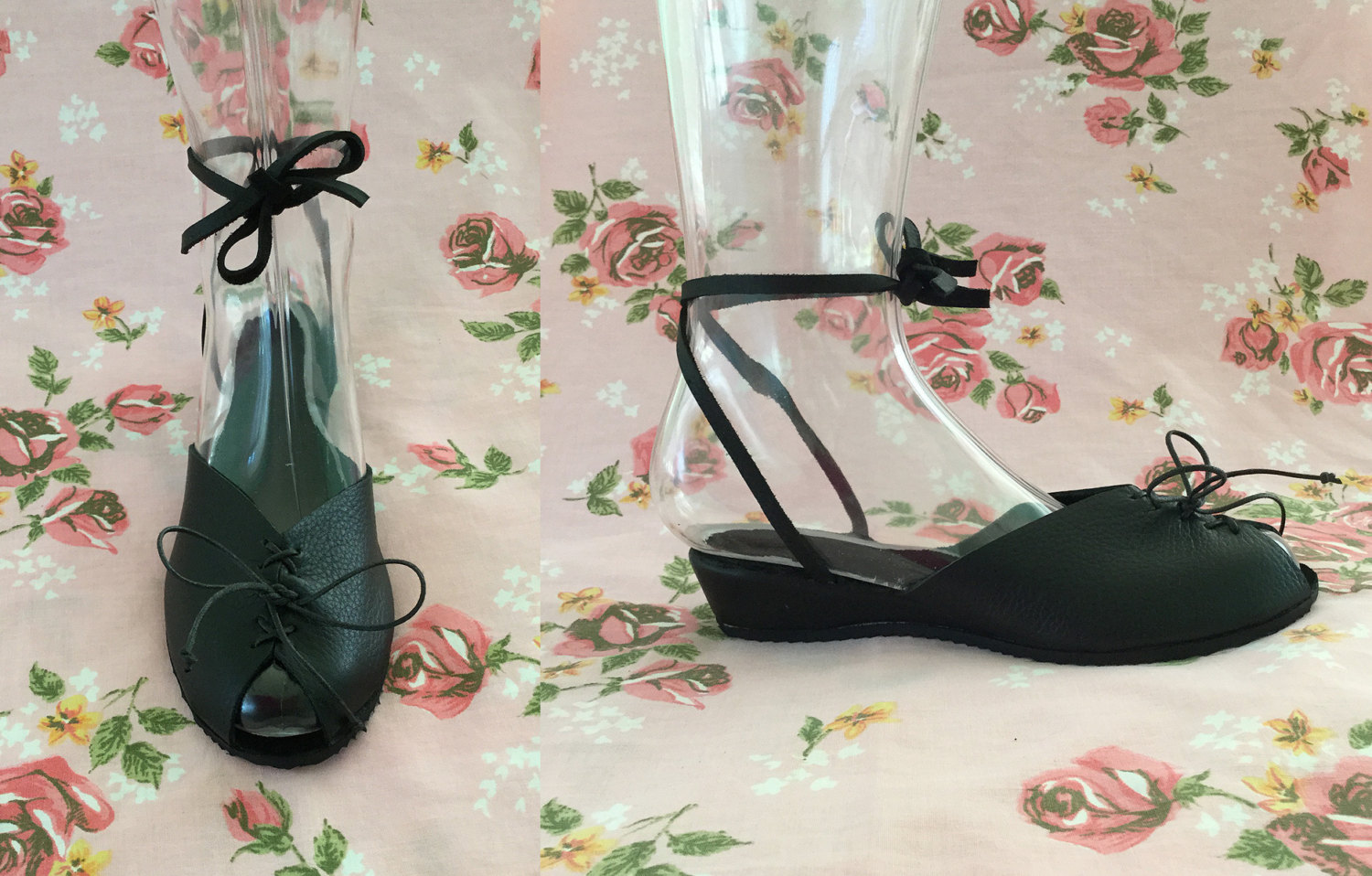 THE AUDREY - 1940's Inspired Solid Black Leather Adjustable Ankle Strap Wedge Sandal with Lace-Up Front - Sizes 5 to 12