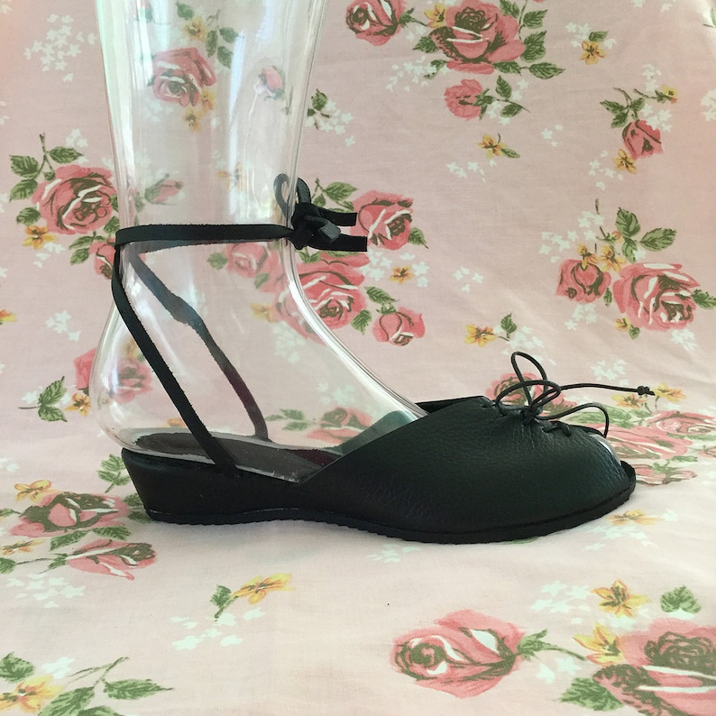 1940s Style Shoes, 40s Shoes, Heels, Boots THE AUDREY - 1940s Inspired Solid Black Leather Adjustable Ankle Strap Wedge Sandal with Lace-Up Front - Sizes 5 to 12 $145.00 AT vintagedancer.com