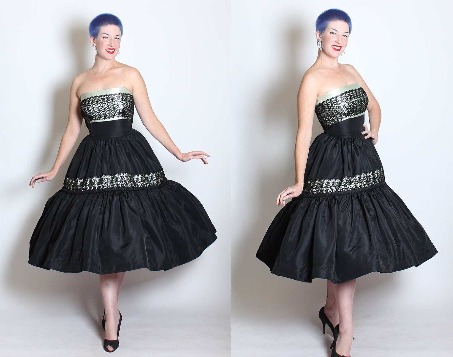 STUNNING 1950s New Look Strapless Satin & Taffeta Couture Party Dress w Shelf Bust / Floral Spiderweb Lace Details by Young American Deb - M